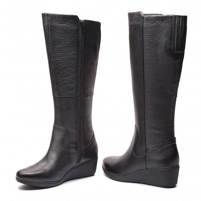 00f9cbd2c811 ... Leather Wedge Long Boot  on sale ff705 1c64a Knee High Boots CLARKS - Un  Tallara Esa 261355444 Black ...