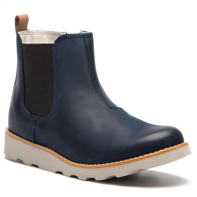 e9c82f8a94e02 Boots CLARKS - Crown Halo 261358697 Navy Leather - Boots - High ...