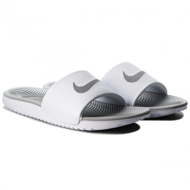 2bcd178ded3a Slides NIKE - Kawa Slide 834588 100 White Metallic Silver - Casual mules -  Mules - Mules and sandals - Women s shoes - www.efootwear.eu