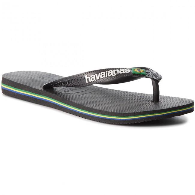 35dce8032 Slides HAVAIANAS - Brasil Logo 41108501069 Black Black - Flip-flops ...