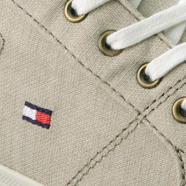 47b29ac03a00 Plimsolls TOMMY HILFIGER - Essential Pique Denim Sneaker FM0FM01378  Cobblestone 068