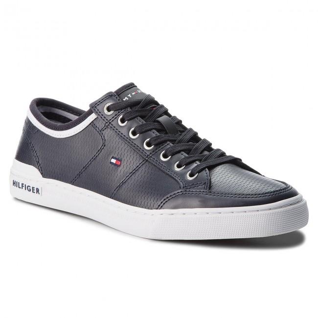 4269e8899f1e1f Sneakers TOMMY HILFIGER - Core Corporate Leather Sneaker FM0FM01497 Midnight  403