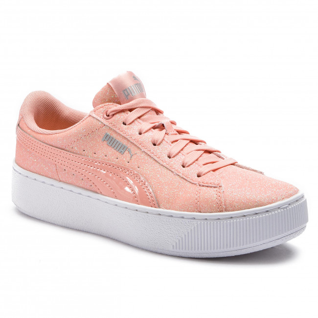 0a23f5bf300285 Sneakers PUMA - Vikky Platform Glitz Jr 366856 04 Peach Bud Peach ...