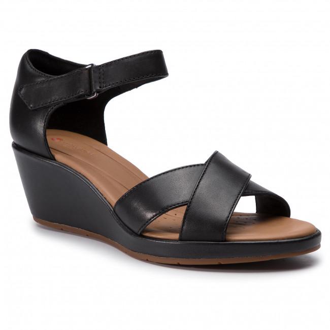 f3961347e47 Sandals CLARKS - Un Plaza Cross 261423094 Black Leather - Wedges ...