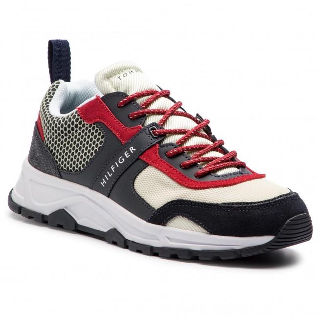 26c2316350664 Sneakers TOMMY HILFIGER - Material Mix Lightweight Runner FM0FM02009 Rwb 020