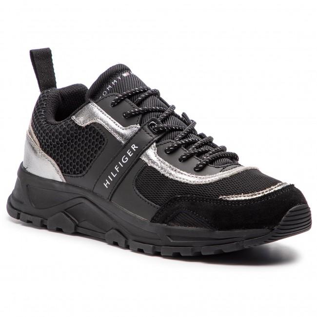 efe9d5fd4e240 Sneakers TOMMY HILFIGER - Black Mix Lightweight Runner FM0FM02021 ...
