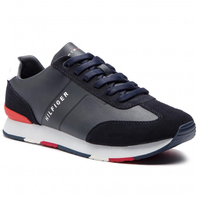 3c28d49695089 Sneakers TOMMY HILFIGER - Leather Material Mix Runner FM0FM02142 ...