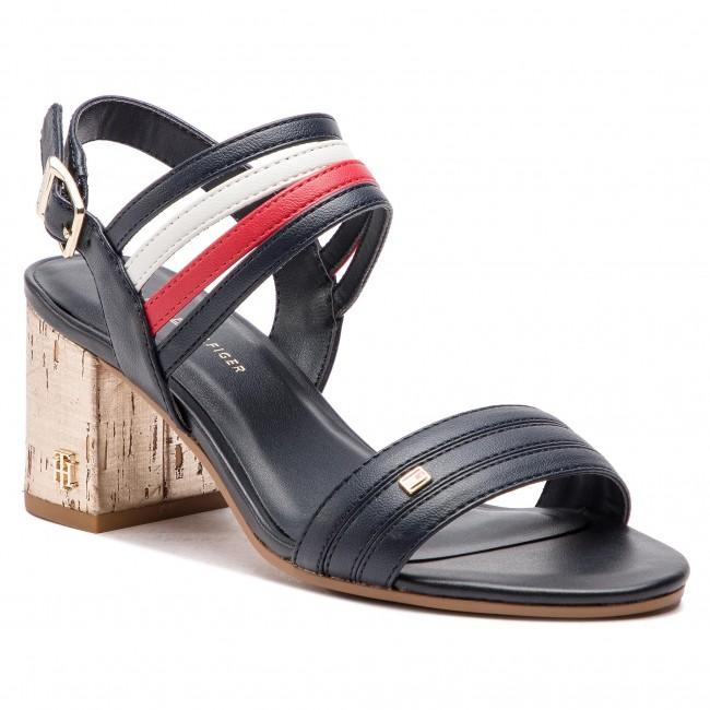 49ef90d6624a Sandals TOMMY HILFIGER - Strappy Mid Heel Sandal FW0FW03671 Rwb 020 ...