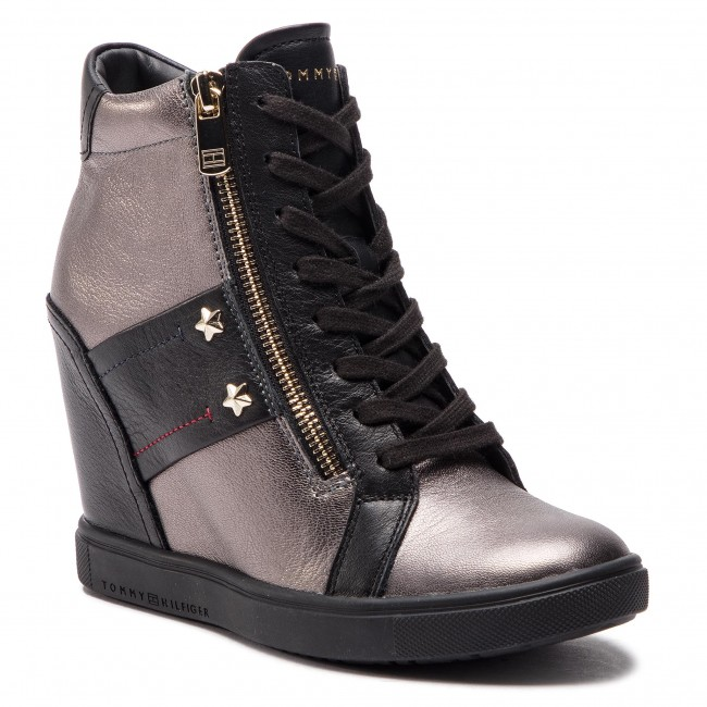 Sneakers TOMMY HILFIGER - Wedge Sneaker FW0FW03687 Black 990 ... c4020a0bfd