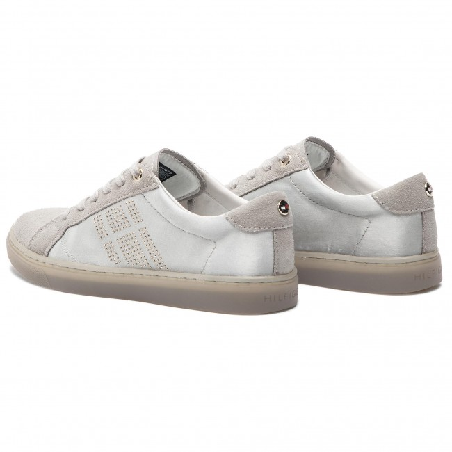 9dc1272c9834e Sneakers TOMMY HILFIGER - Sparkle Satin Essential Sneaker FW0FW03694  Diamond Grey 001