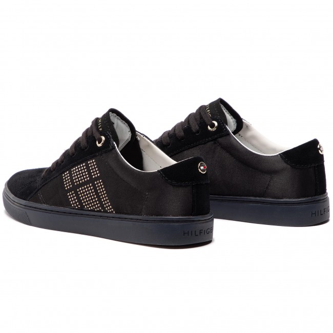 f38d328096773 Sneakers TOMMY HILFIGER - Sparkle Satin Essential Sneaker FW0FW03694 Black  990
