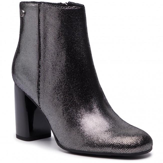 FW0FW03695 HILFIGER 015 Silver Metallic TOMMY Suede Bootie Boots Dark Shiny Y5Un6q