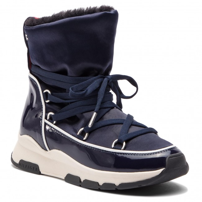 b937b424fd620 Boots TOMMY HILFIGER - Cool Technical Satin Winter Boot FW0FW03697 Midnight  403