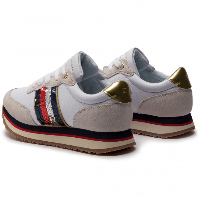 eab00aecff8c2 Sneakers TOMMY HILFIGER - Sequins Retro Runner FW0FW03703 White 100