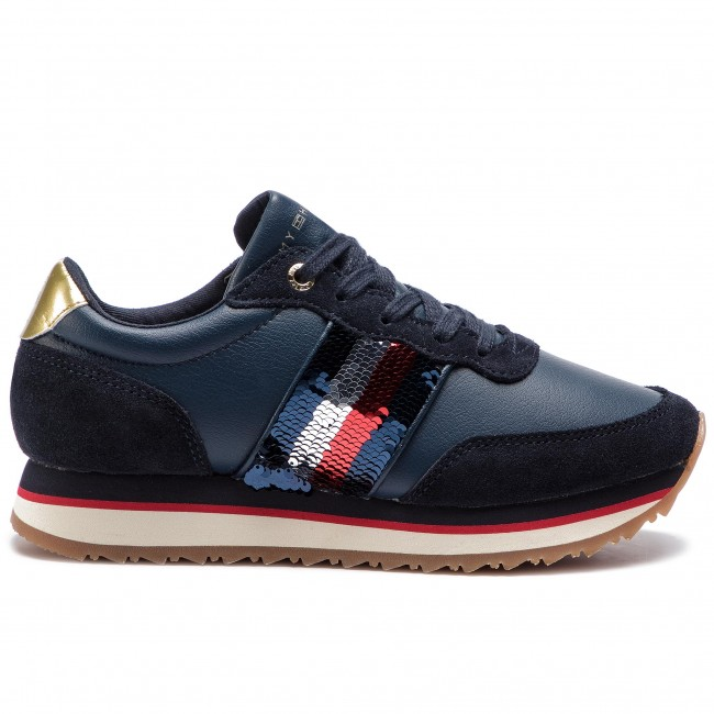 8be0e3c7f4d28 Sneakers TOMMY HILFIGER - Sequins Retro Runner FW0FW03703 Midnight 403