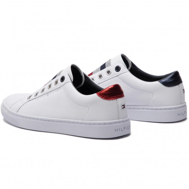 86241f432a5a7 Sneakers TOMMY HILFIGER - Tommy Elastic Essential Sneaker FW0FW03707 White  100