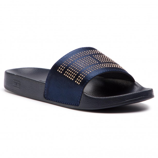 50753b3a65e9 Slides TOMMY HILFIGER - Sparkle Satin Pool Slide FW0FW03752 Midnight ...