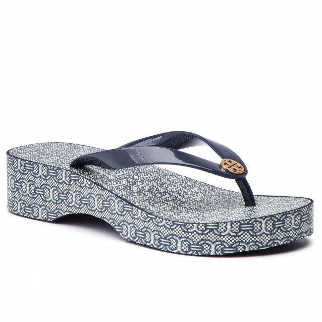 dbf990871a4 Slides TORY BURCH. Cut-Out Wedge Flip Flop 56485 Tory Navy/Navy Gemini Link  ...