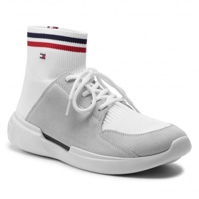 2e465a8d9e218 Sneakers TOMMY HILFIGER. Corporate Runner Mid Cut Knit FM0FM02235 White 100