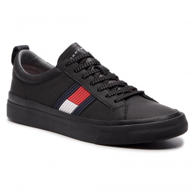 4cd7b9d80355 Plimsolls TOMMY HILFIGER - Flag Detail Leather Sneaker FM0FM01712 ...