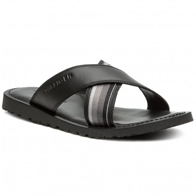61a93840de15 Slides TOMMY HILFIGER - Criss Cross Leather Sandal FM0FM02120 Black ...