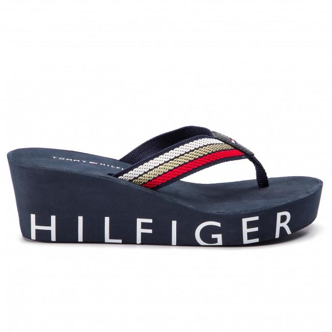 fafee82f6 Slides TOMMY HILFIGER - Iconic Wedge Beach Sandal FW0FW03866 Rbw 020 ...