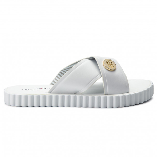db65d9d1296c Slides TOMMY HILFIGER - Hardware Detail Beach Sandal FW0FW03883 White 100