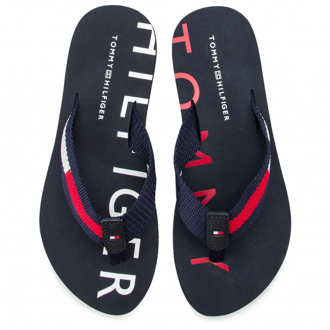 ddcc9b7ee Slides TOMMY HILFIGER - Flat Beach Sandal Hilfiger Print FW0FW03887 Rwb 020  - Flip-flops - Mules and sandals - Women s shoes - www.efootwear.eu
