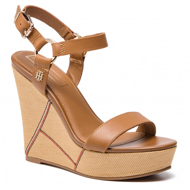 310a77877 Sandals TOMMY HILFIGER. Elevated Leather Wedge Sandal FW0FW03943 Summer  Cognac 929