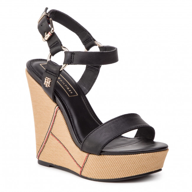 1e8fa9aaf Sandals TOMMY HILFIGER. Elevated Leather Wedge Sandal FW0FW03943 Black 990.  New