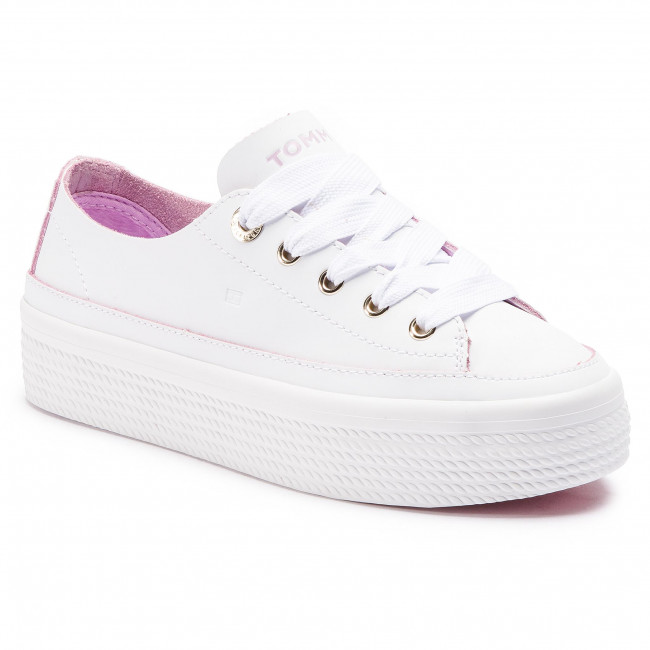 46d65f1aeb0f Sneakers TOMMY HILFIGER - Leather Flatform Sneaker FW0FW04089 White ...