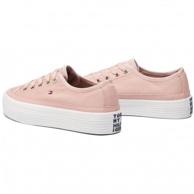 711e220baee39 Plimsolls TOMMY HILFIGER - Corporate Flatform Sneaker FW0FW02456 Dusty Rose  502