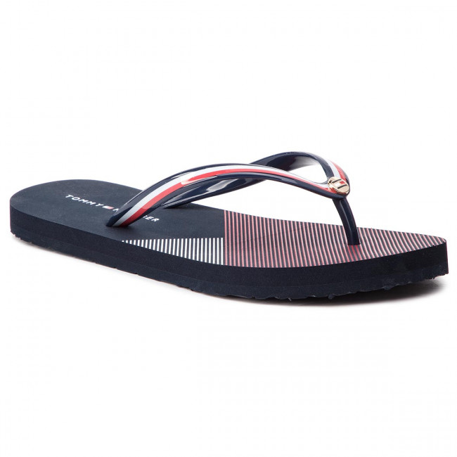 939ab3809 Slides TOMMY HILFIGER. Flat Beach Sandal Stripe Print FW0FW04043 Rwb 020