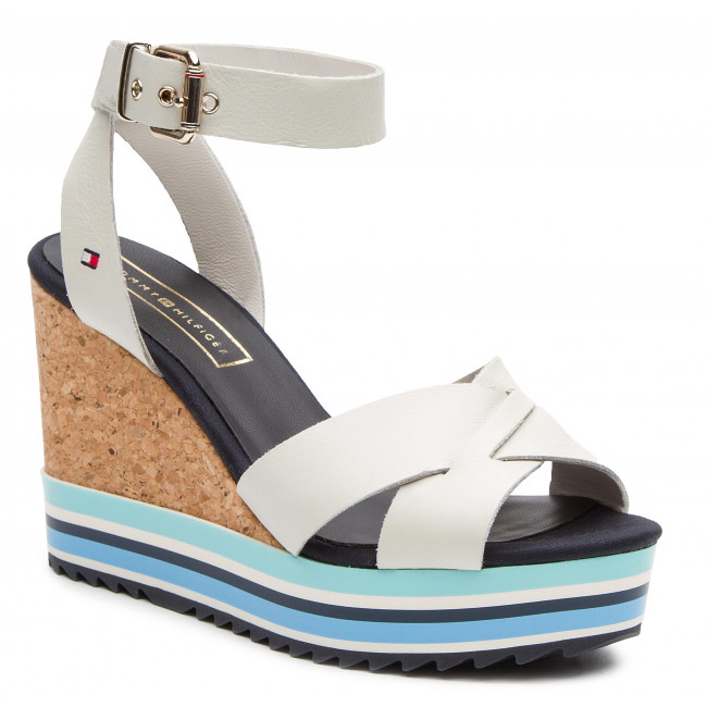 ccc990794ff2 Sandals TOMMY HILFIGER. Colored Stripes Wedge Sandal FW0FW04054 Whisper  White 121