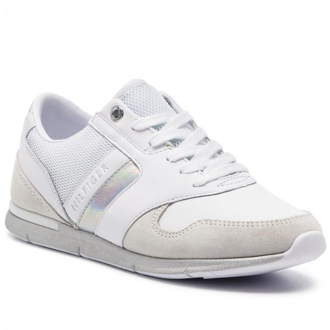 e5c84f99 Sneakers TOMMY HILFIGER. Iridescent Light Sneaker FW0FW04100 White/Silver  902