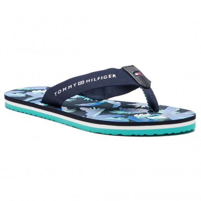cd7feaadb3502e Slides TOMMY HILFIGER - Flat Beach Sandal Floral Print FW0FW04103 Navy  Blazer 453