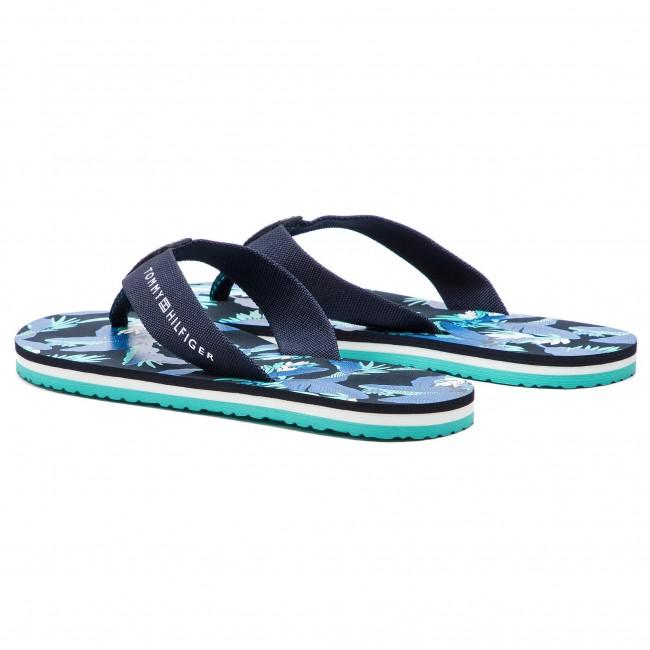 ae444cecf7e4a Slides TOMMY HILFIGER - Flat Beach Sandal Floral Print FW0FW04103 Navy  Blazer 453