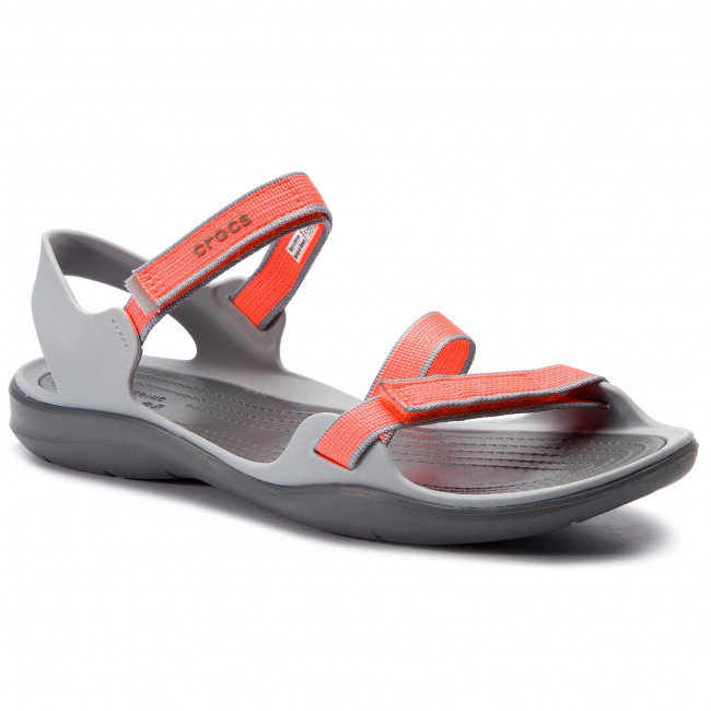 ed88e4aaabab Sandals CROCS. Swiftwater Webbing Sandal W 204804 Bright Coral Light Grey
