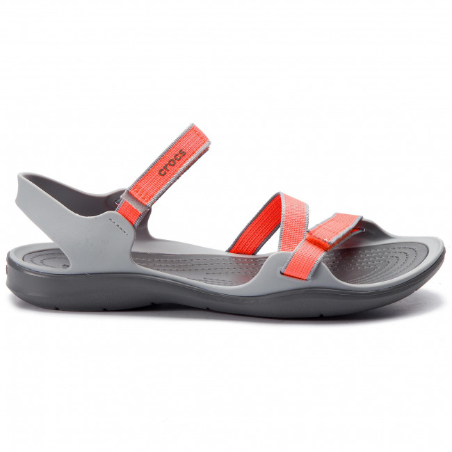 75737cb59a23 Sandals CROCS - Swiftwater Webbing Sandal W 204804 Bright Coral Light Grey