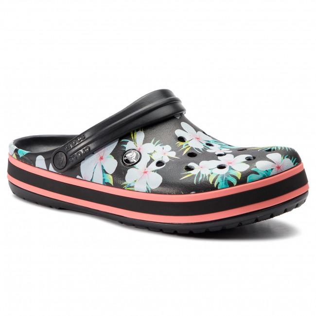 a4e39560f Slides CROCS - Crocband Seasonal Graphic Clog 205579 Black Floral ...