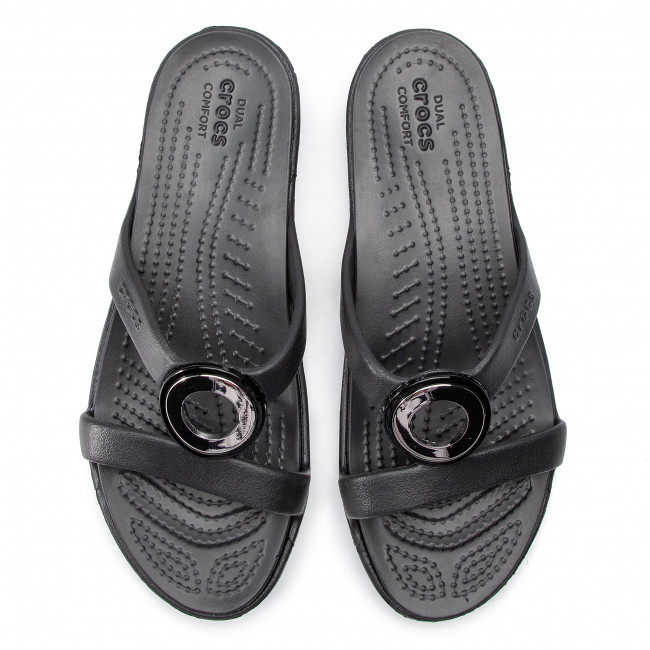 Details about Womens Crocs Sanrah Metalblock Sandals Gunmetal Black Sandal Flip Flop
