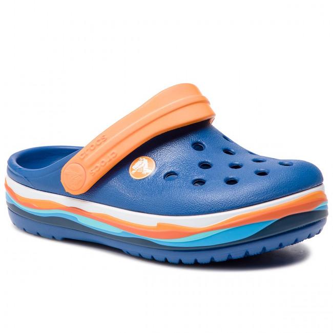 de5a385ee124 Slides CROCS - Crocband Wavy Band Clog K 205697 Blue Jean - Clogs ...