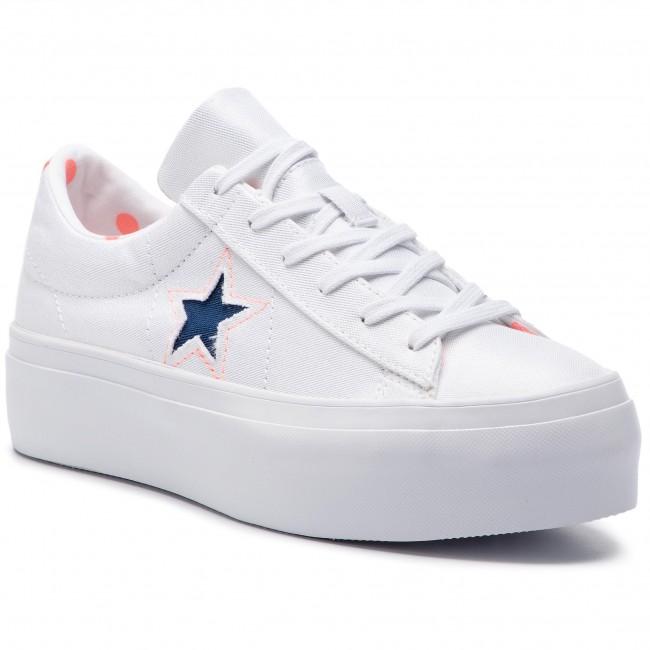 white platform one star converse