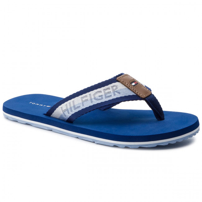 9ad3a9a85 Slides TOMMY HILFIGER - Corporate Webbing Beach Sandal FM0FM02266 Monaco  Blue 408
