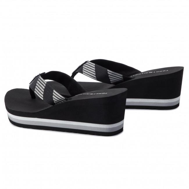 9a1740579a66c Slides TOMMY HILFIGER - Glitter Webbing Mid Beach Sandal FW0FW04244 Black  990