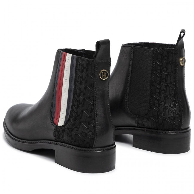Tommy Hilfiger Sporty Monogram Flat Bootie Womens Black Chelsea Boots