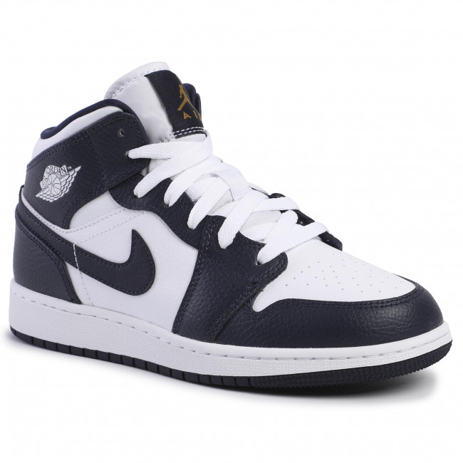 Shoes Nike Air Jordan 1 Mid Gs 554725 174 White Metallic Gold
