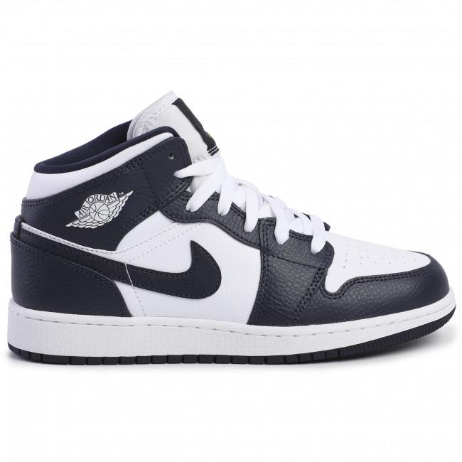 Shoes NIKE - Air Jordan 1 Mid (Gs) 554725 174 White/Metallic Gold/Obsidian