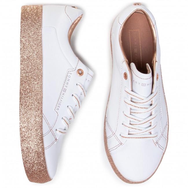 Sneakers TOMMY HILFIGER Glitter Foxing Dress Sneaker FW0FW04849 WhiteGold 0K6