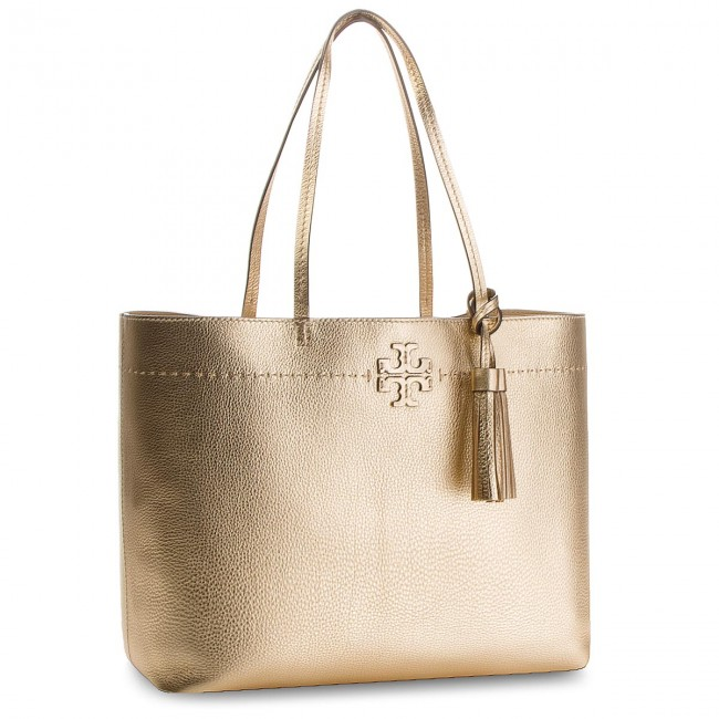 8c69fb39c82 Handbag TORY BURCH - McGraw Metallic Tote 46222 Gold 701 - Classic ...